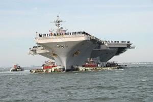 Die vliegdekskip USS George H.W. Bush.
